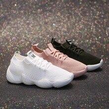 купить 2019 Breathable Mesh Women Casual Shoes Vulcanize Female Fashion Sneakers Lace Up High Leisure Footwears дешево