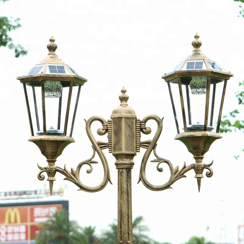 Free Shipping Via express Double Arm 3m Solar Post Lantern With Pole Outdoor Garden Decorative - 2