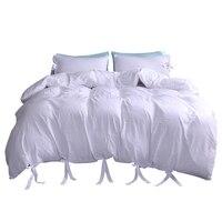 Cor sólida lavado algodão macio quilt cover gêmeo rainha rei capa de edredão fronha três peças casa conjunto cama|Capa de edredom|   -