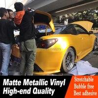 Высококачественная желтая виниловая пленка для автомобиля с воздушным пузырьком, матовая металлическая стильная оберточный клей для авто