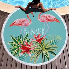 Printed Large Leaves Flower Flamingo Beach Towels Round Microfiber Roundie Adults Serviette De Plage Toalla Playa