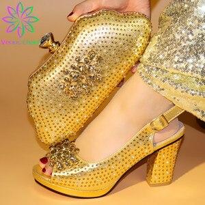 Image 3 - New Arrival srebrne włoskie buty ze stylowy zestaw torebek ozdobiony dżetów afrykańskie buty i torebka w zestawie do dopasowania na imprezę