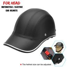 Кожаные мотоциклетные шлемы, велосипедный скутер, полуоткрытый защитный шлем, жесткая шапка, безопасность, унисекс, шлем для гонщика, бейсбольная кепка, стиль