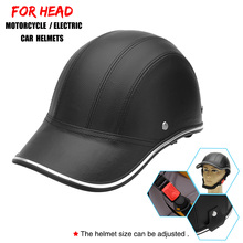 Motorcycle Leather Helmets Bike Scooter Half Open Face Protective Helme