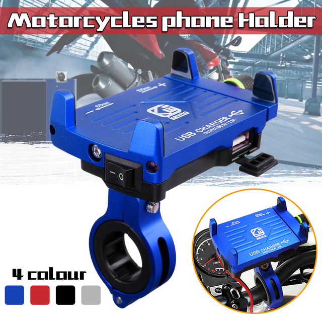 Motocicleta soporte para teléfono manillar Clip con USB cargador de teléfono móvil soporte para coche eléctrico moto bicicleta de montaña titular