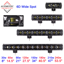 цена на 6D Lens Led Light Bar Wide Spot 30W 60W 90W 120W 150W 180W 210W Auto Car Work Drivng Lamp for 4WD ATV Trailer Offroad 12V 24V
