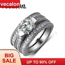 Vecalon Vintage ring 3ct AAAAA Zircon Cz 14KT White Gold Filled 3-in-1 Engagement Wedding Band Ring Set for Women Sz 5-11