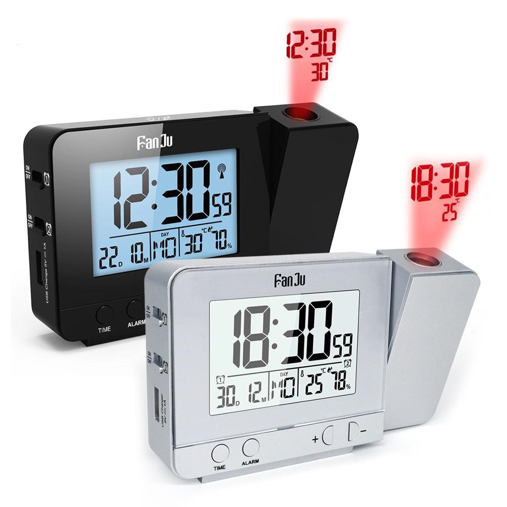 Fanju Digitale Wekker Projectie Datum Roterende Wekt Multifunctionele Led Wekker Snooze Functie Backlight Klokken