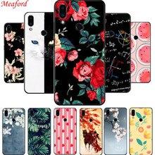 For Meizu Note 9 Case 6.2 Soft Silicone Black Back Cover M9 Phone TPU Floral Funda Coque