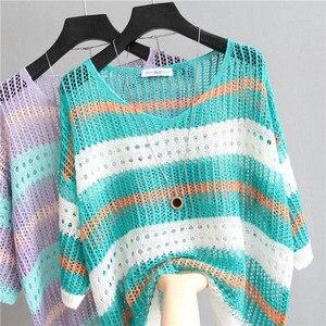 Image 1 - Sexy kobiet sweter w paski Mesh sweter z dziurami kobiet 2020 moda jesień luźne góra pół rękawa koszula z dzianiny Casual odzież