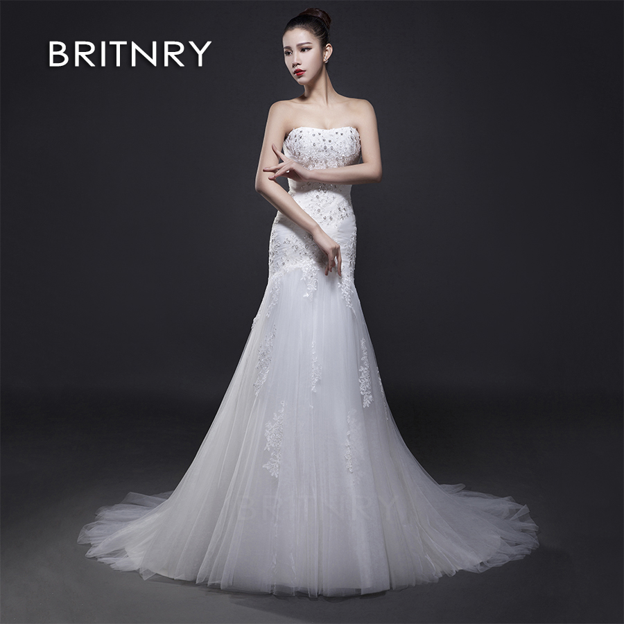 BRITNRY 2019 Sexy Mermaid Appliques Lace Cheap Wedding Dresses New Sleeveless Bridal Dress Wedding Gown Vestidos De Noiva