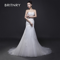 BRITNRY 2019 Sexy Mermaid Appliques Lace Cheap Wedding Dresses New Sleeveless Bridal Dress Wedding Gown vestidos de noiva