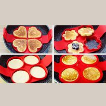 Silicone Pancake Maker Round Heart Egg Cooker Pan Flip Eggs Mold Kitchen Baking Accessories Supplies