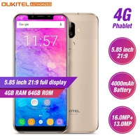 OUKITEL U18 4G Smartphone 5.85 21:9 Display Face ID MT6750T Octa Core Android 7.0 4GB RAM 64GB ROM 4000mAh 16MP Mobile Phone