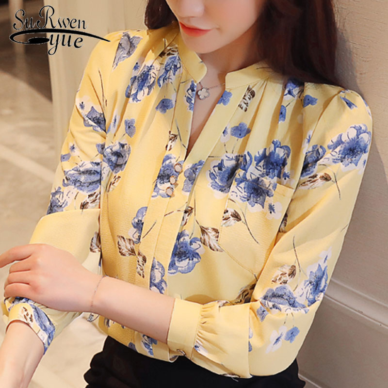 Fashion 2018 long sleeve   blouses   women tops print chiffon women   blouse     shirt   office lady   shirts   female blusas Z0001 40