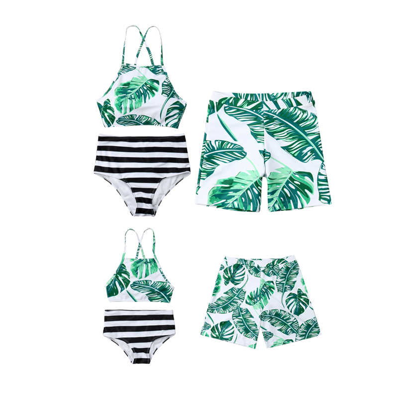 978a95667c Women Swimsuit Family Matching Mother Father Girls Boys Clothes Set Bikini  Bathing Swimwear Leaves Swim Suit
