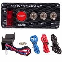 New Racing Carbon Fibre Car 12V Ignition Switch Panel Engine Start Push Button LED 3 Toggle Switch