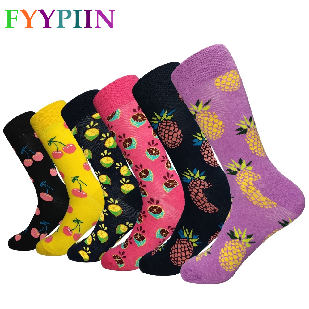 Mens Socks Promotion Sale Nylon 2019 Latest Men's Socks Casual High Quality Pattern Men Color Happy Clothes (6 Pairs / Lot)