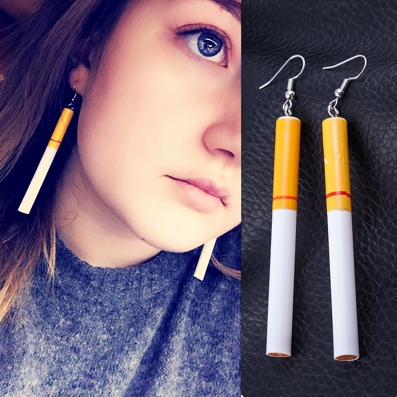 Fashion 1Pair Cigarette Personality Woman Earrings Popular Dangle Earrings High Quality punk Jewelry in Drop Earrings from Jewelry Accessories
