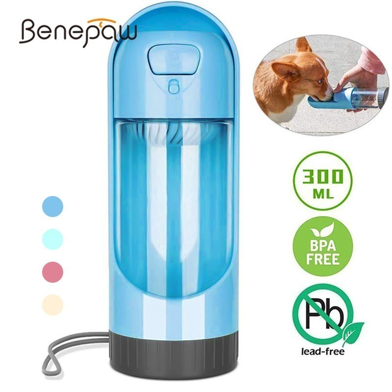 300ml Portable Pet Dog Water Bottle Travel Dog Bowl Cups: Benepaw Portable Dog Water Bottle Bowl 300ml Durable