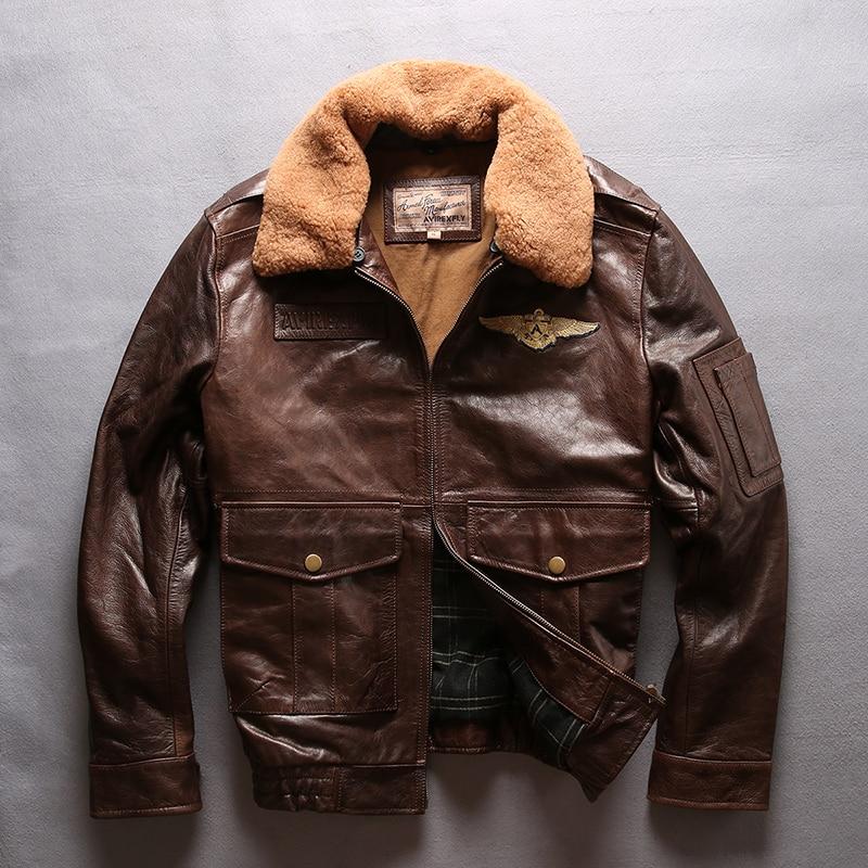 3f2ac094d fly air force flight jacket fur collar genuine leather jacket men ...