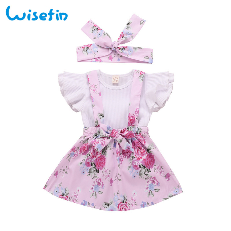 Sweet girl clothing summer toddler girl outfits butterfly sleeve tops floral print strap dress headbands for girls 3 pcs set P30
