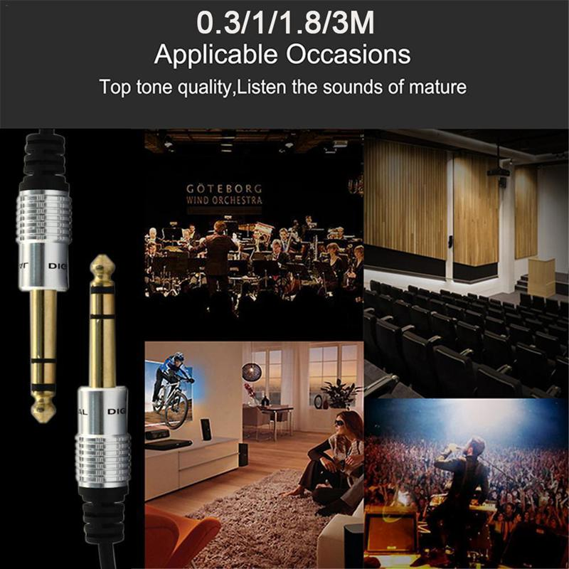 3.5mm To 6.5mm Adapter Jack Audio AUX Cable For Mixer Amplifier Guitar Male
