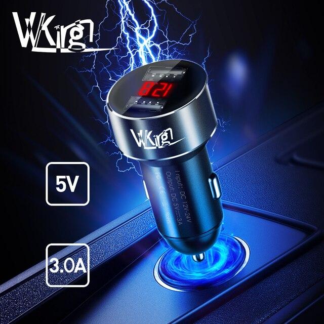 VVKing 5 V 3.0A Max Kép USB Car Charger Đối Với Huawei Xiaomi Samsung S8 iPhone X 8 Cộng Với Điện Thoại Máy Tính Bảng vv Adapter trong USB Xe Kim Loại