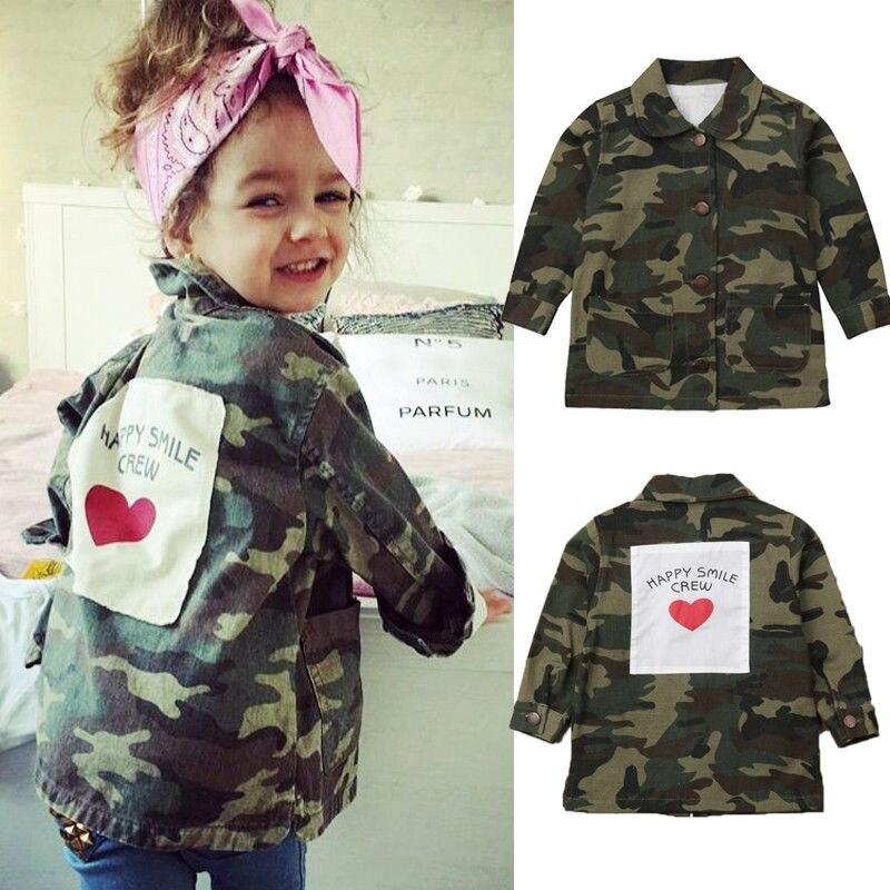 Mutter & Kinder Temperamentvoll 2019 Mode Neue Kleinkind Infan Mädchen Jungen Camo Jacke Kinder Herbst Lange Ärmeln Taste Blusen Mäntel 2-8y