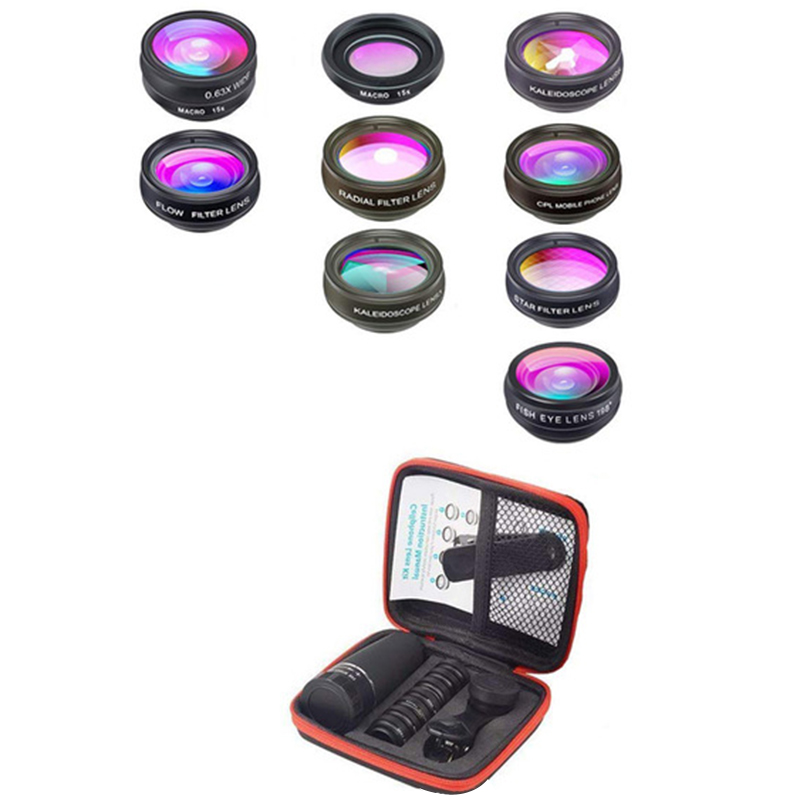 10 In 1 Mobile Phone Lens Telephoto Fisheye Lens Wide Angle Macro Lens+Cpl/Flow/Radial/Star Filter For All Smartphones|Mobile Phone Lens| |  - title=