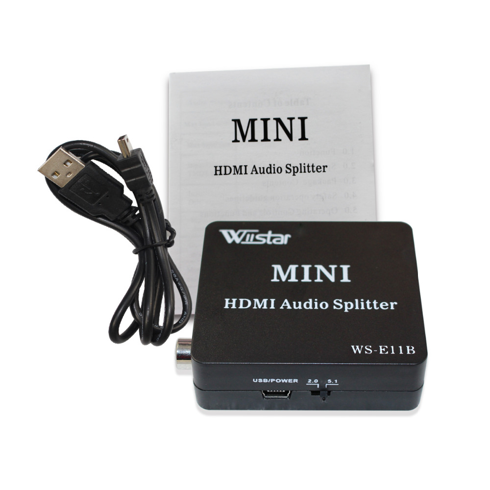 Wiistar HDMI To HDMI Spdif Coxial 3.5mm With 2CH/5.1CH HDMI Audio Extractor Splitter Converter Audio Splitter Free Shipping