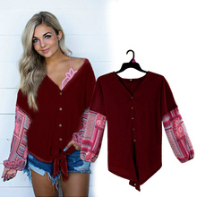 Lan Karswear t shirt spring T-shirts for woman Stitching print sleeve fashion womens Open V-neck Casual sexy knitting top