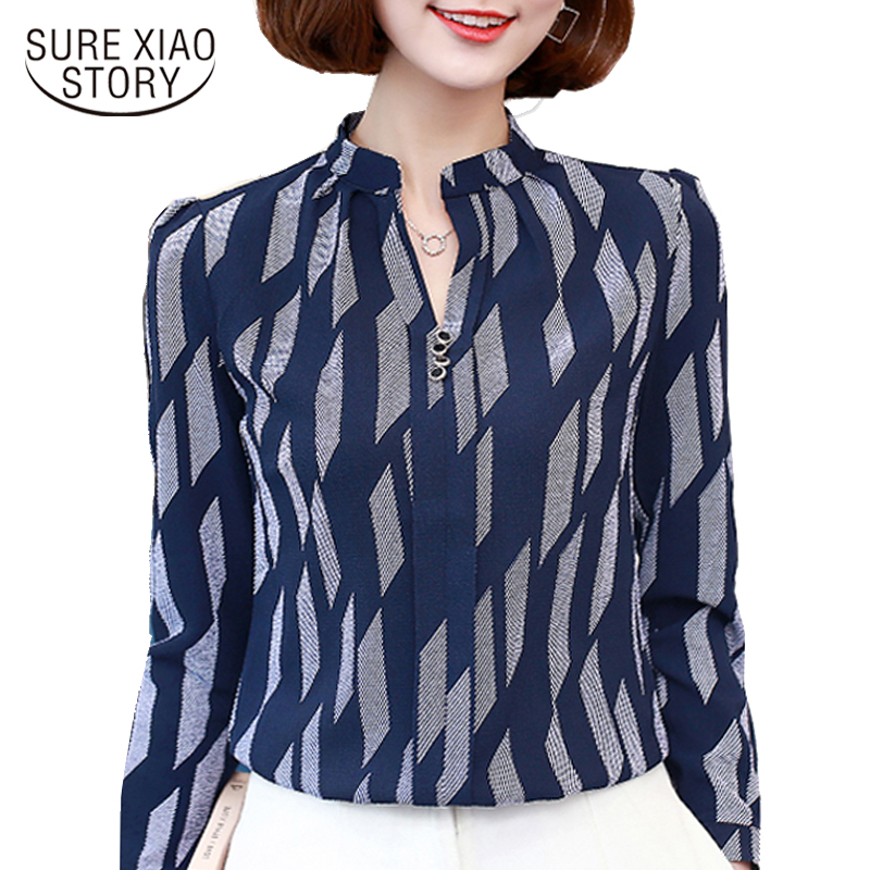 The Spring of 2017 New Women Tops Casual V Collar Chiffon Blouse with Long Sleeved Blooming Temperament Shirt Printing 01D 30 Блузка