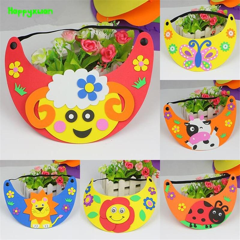 Happyxuan 6pcs DIY Eva Hat Sun Cap Cartoon Animal Kids Art Craft Kits Handmade Creative Educational Kindergarten Toys For Girls