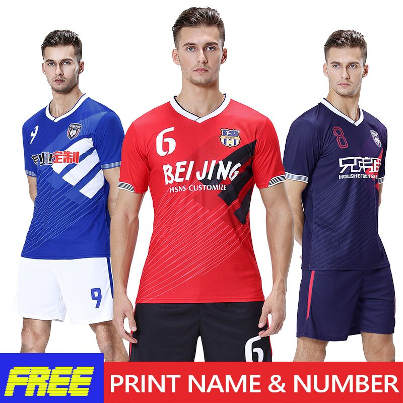 2f2ca17a4 Soccer Jerseys Custom Football Uniform Set Jersey Football 2019 Team Club  Training Clothes Men Sports Suit Referee Jersey Soccer