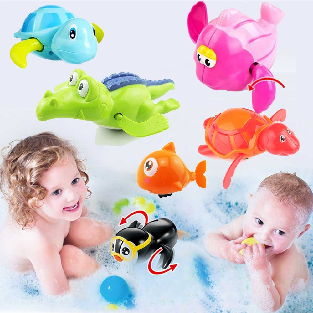 Newborn Cute Cartoon Animal Tortoise Baby Bath Toy Infant Swim Turtle Chain Clockwork Classic Toys Kid Educational Toys newborn baby bath toy cute cartoon animal water thermometer duck bear pig crocodile cow kids temperature tester bathroom toys