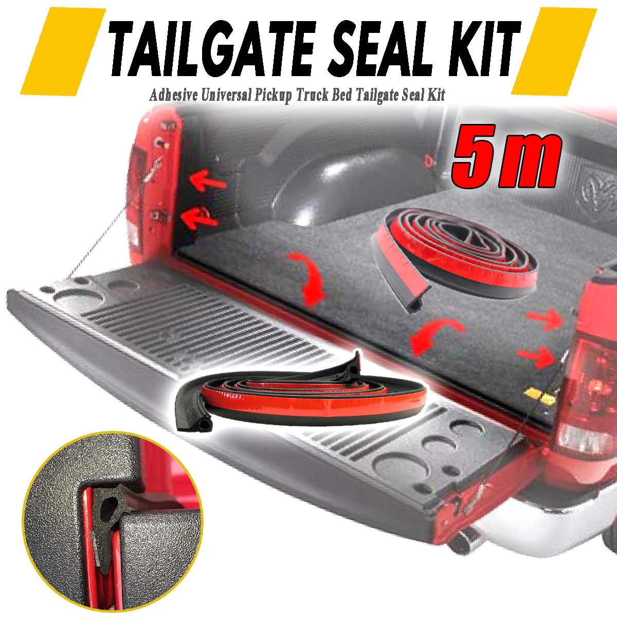 5M Adhesive Universal Weather Stripping Pickup Truck Bed Rubber Tailgate Seal Kit Tailgate Cover Sound Insulation
