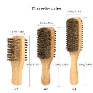 Image 4 - Męska szczotka do brody dwustronna szczotka do twarzy grzebień do golenia męski wąsy szczotka uchwyt z litego drewna opcjonalny rozmiar pędzel do golenia