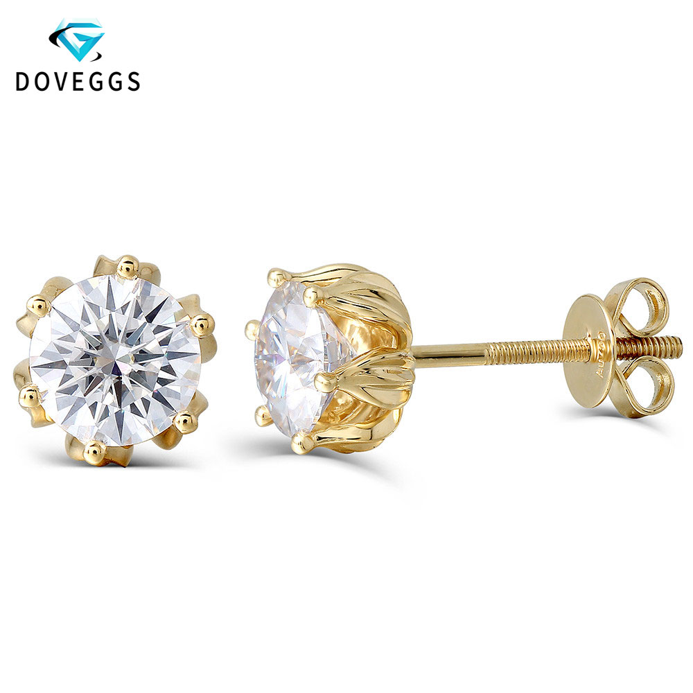 DovEggs Solid 14K 585 Yellow Gold 2CTW 6 5mm F Color Lab Grown Moissanite Stud Earrings