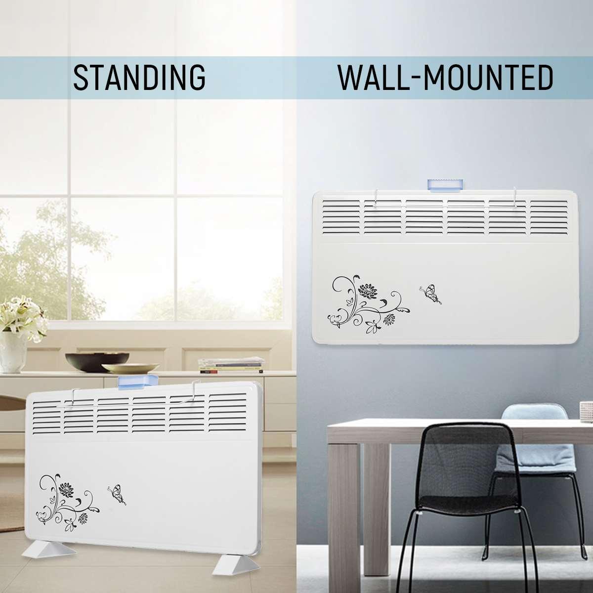 2000W 220V Winter Electric Heater 6 Windows Heater Wall Metal Shell Stove Radiator Warmer Household Room Heating Fan Machine