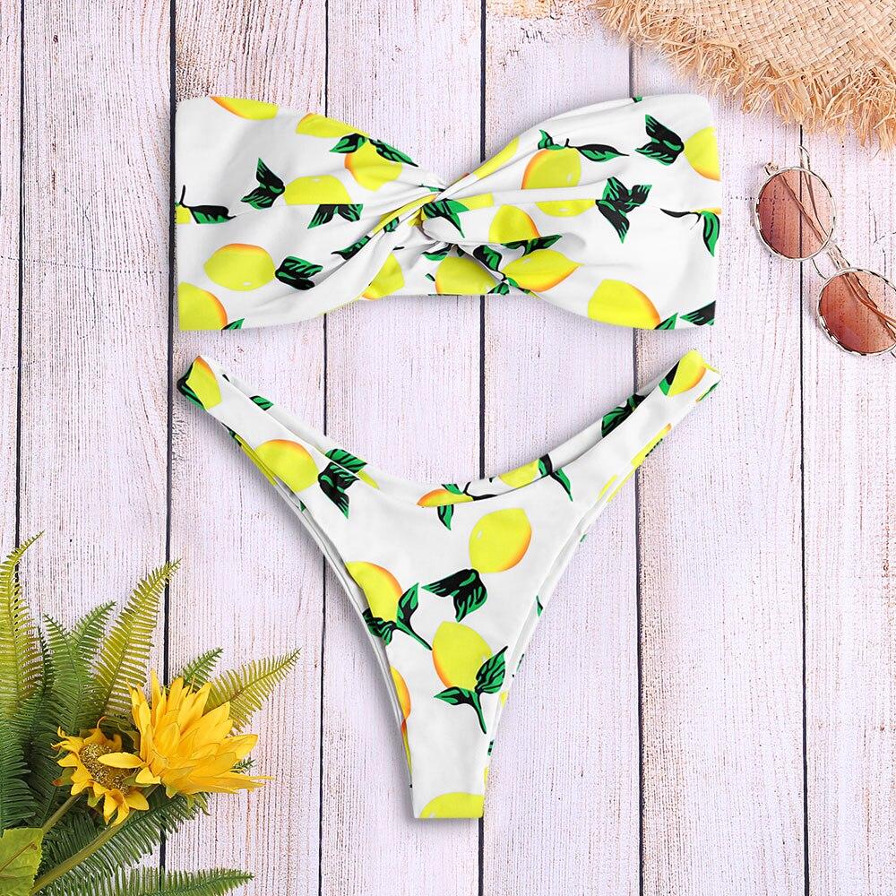 Summer Sexy Women Brazilian Bikini Set Swimwear Strapless Backless Padded Lemon Print Low Waist Swimsuit Bathing Suit