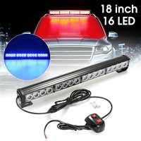 12V 8W 18'' Car Truck 16 LED Strobe Flashing Hazzard Roof Light Bar Lamp Bulb Red Blue