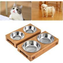 Поилка для домашних животных бамбуковая подставка двойная собака кошка Нескользящая миски для корма