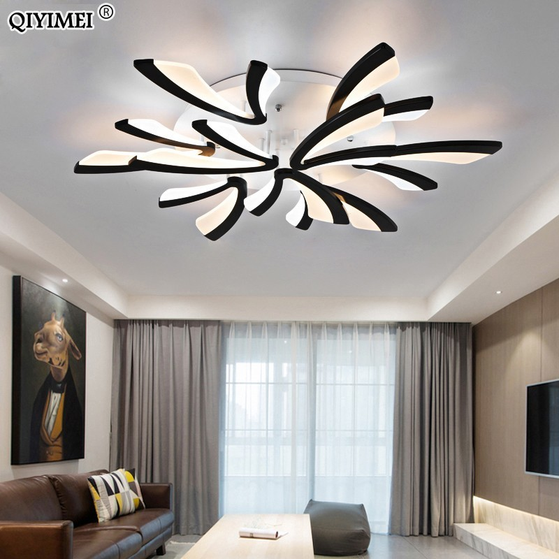 Modern Led Ceiling Chandelier Lights For Living Room Bedroom Dining Study Room White Black Body Ac90-260v Chandeliers Fixtures Chandeliers
