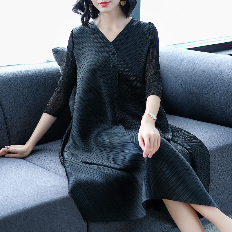 DEAT Fashion New V neck Solid Loose 2019 Women Dress Casual Hot Sale Trendy Spring Tide Summer Clothes BF866-in Dresses from Women's Clothing    3