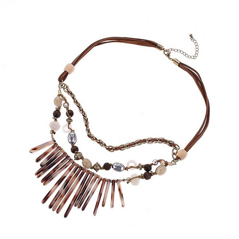 Fringed Resin Necklace Short Multi-layer Alloy Necklace Collar European And American Style Retro Neck Accessories