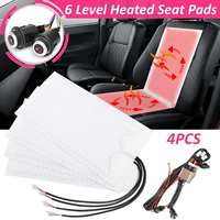 4pcs 6 Level 12V Carbon Fiber Universal Car Heated heating Heater Seat Pads 2 Seats 4 Pads Winter Warmer Seat Covers