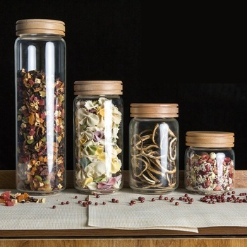 Borosilica Glass Storage Jars Bottles Sets Sealed Cans With Wood Lid For Spices Tea Coffee Candy Bulk Airtight Container Mason 1