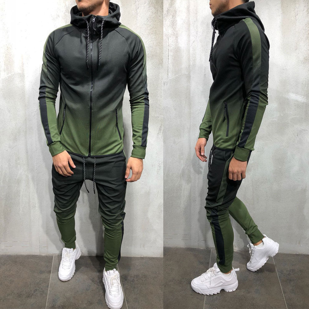 Mens Tracksuit Set Zip Up Hoodie Top Bottoms Jogging Joggers Gym Sweats Slim Fit Tracksuits & Sets