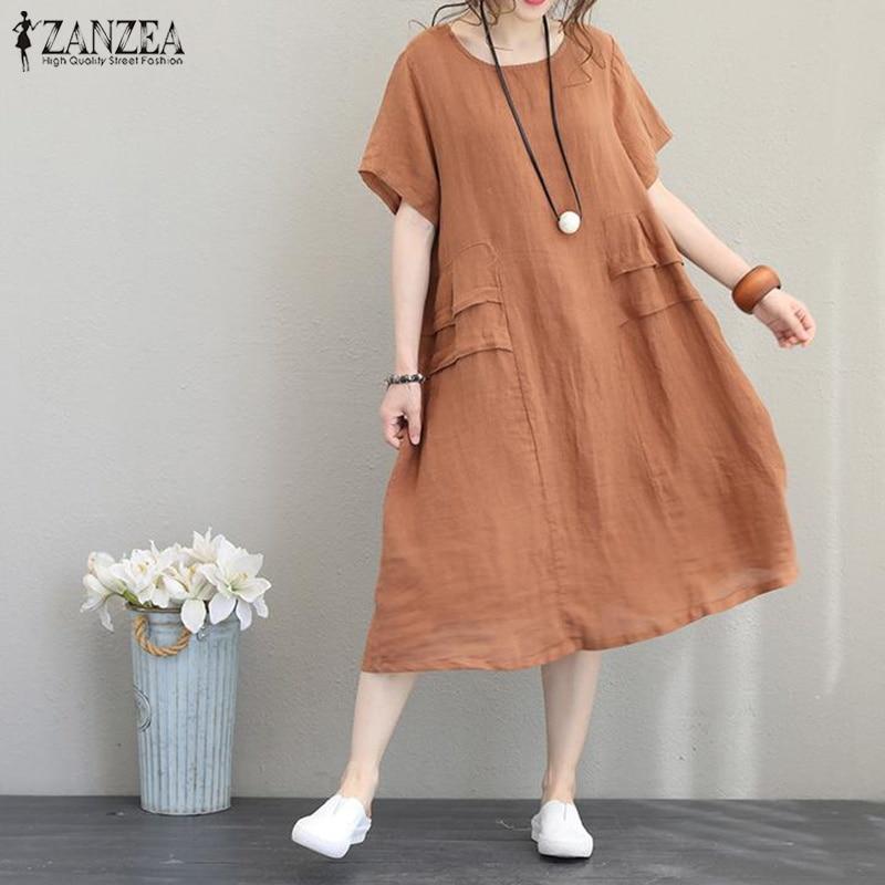 Oversized Linen Dress Women Summer Midi Vestidos 2019 ZANZEA Vintage Female Short Sleeve Sundress Robe Kaftan Baggy Party Dress